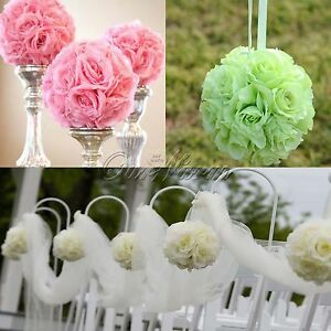 5 Artificial Silk Rose Kiss Flower Ball Crystal Pew Bows Wedding ...