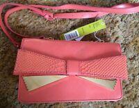 Gianni Bini Lucy Bow Cross-body Bag Purse Coral $79