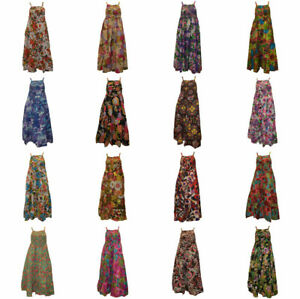 100-COTTON-BOHO-HIPPIE-VINTAGE-STYLE-STRAPPY-ELASTICATED-FLORAL-MAXI-DRESS