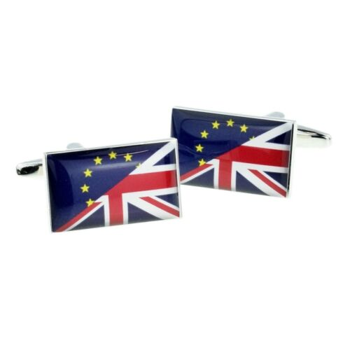 High Quality Union Jack Mixed with Europe European Flag Cufflinks