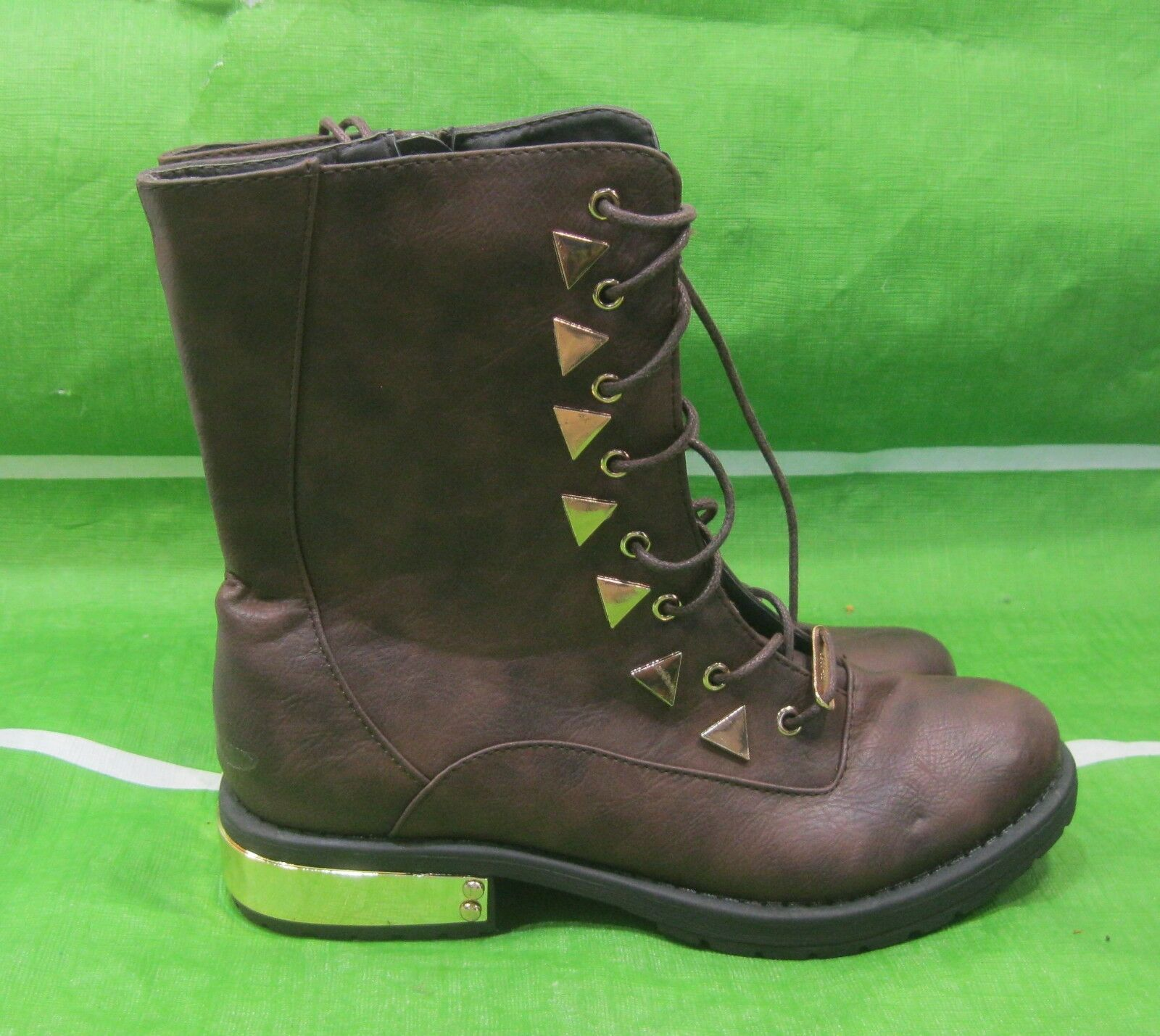 Brown gold Stud Lace Up 1.5 Low block Heel Round Toe Ankle Sexy Boot Size 7.5