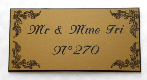 plaque gravée porte personnalisée 2 à 3 lignes  format 75 x 150 mm enjolivures