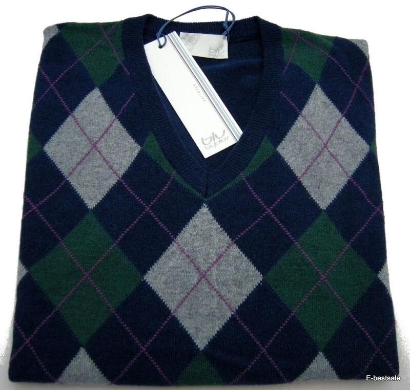 Maglia Byblos Blu Cashmere maglione Sweater Jumper  Herren Men Made in  E-Beste