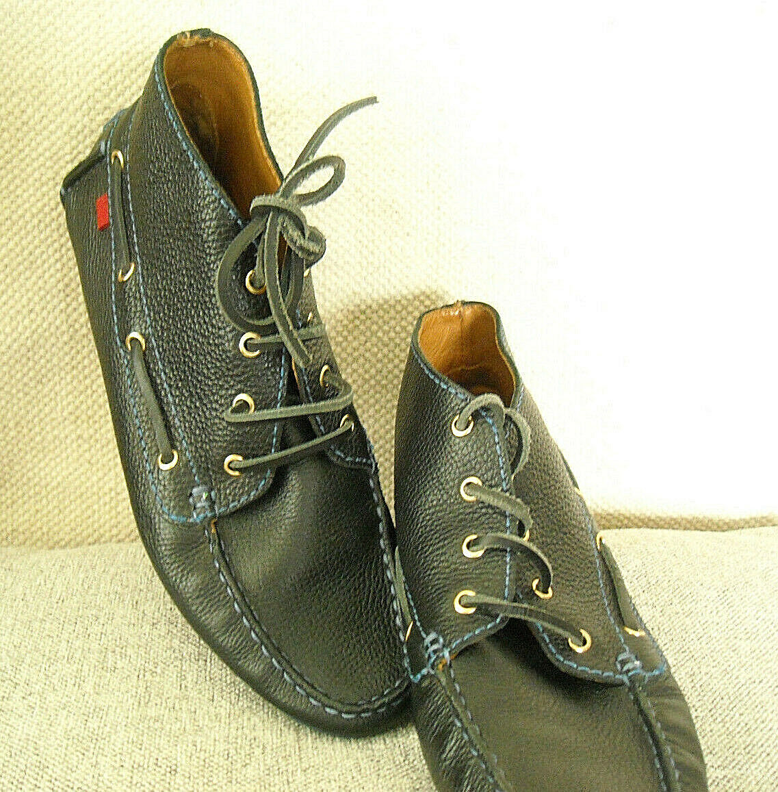 MARC JOSEPH 'BROADWAY' NAVY blueE LEATHER, DRIVING MOCCASINS BOOTIES - SZ. 7-1 2M