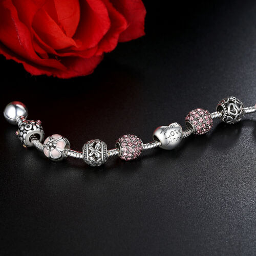 European 925 Glass Bead Charms Bracelet With Crystal Fit Women Handmade Jewelry