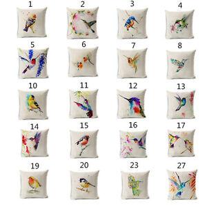 Colorful Fly Bird Cushion Covers Cotton Linen Throw Pillow Case Home Decor