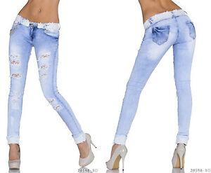 realty fashion jeans r hre mit spitze damen jeansr hren zerrissen strass 36 38 ebay. Black Bedroom Furniture Sets. Home Design Ideas