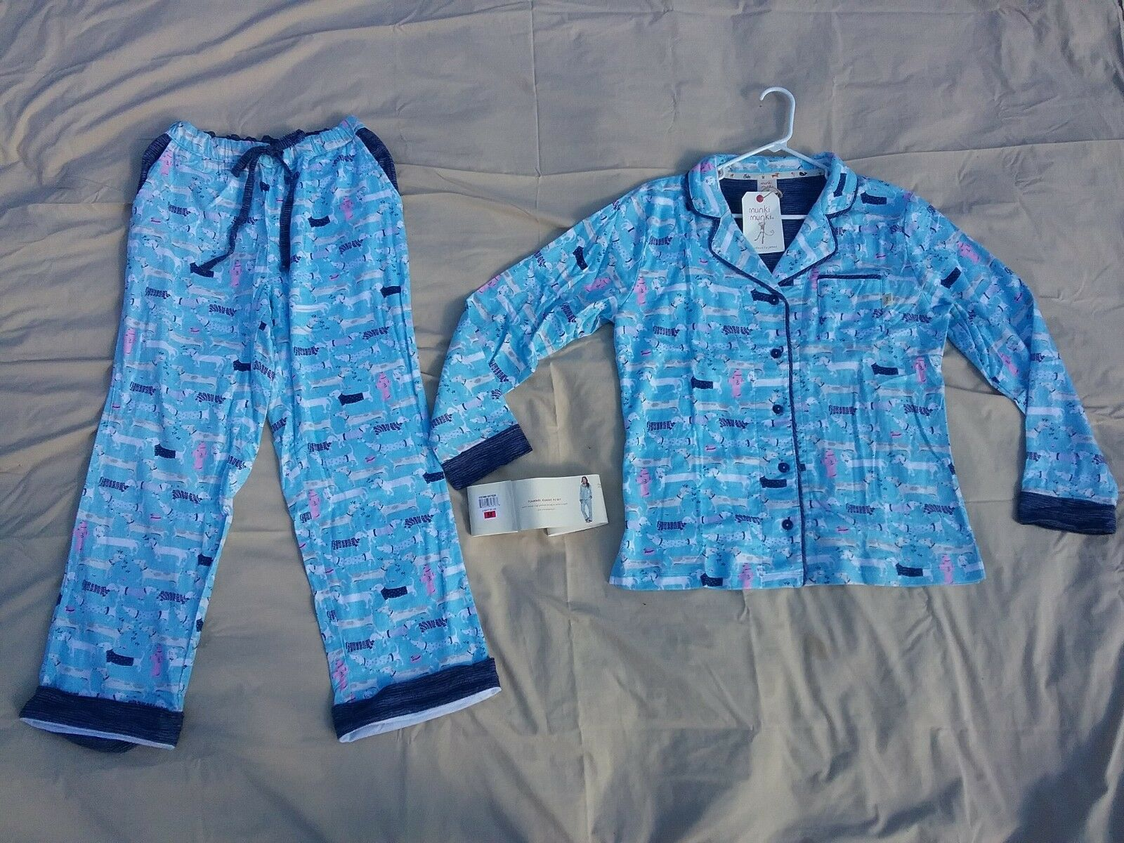 Women's Flannel pajama set 2 piece Button up Top Pants bluee Dogs  MANKI Large