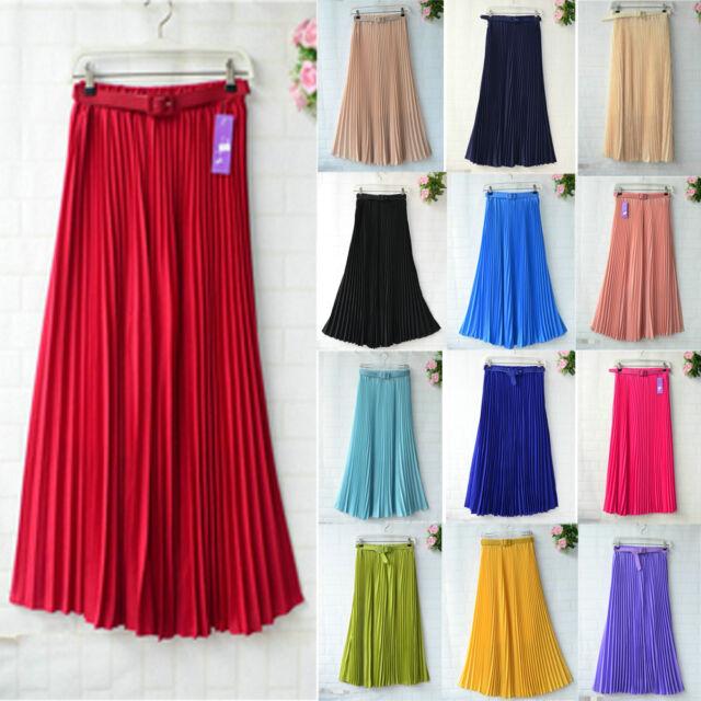 Women Pleated Retro Maxi Long Skirt Elastic WaistBand Belt Chiffon Dance Dress