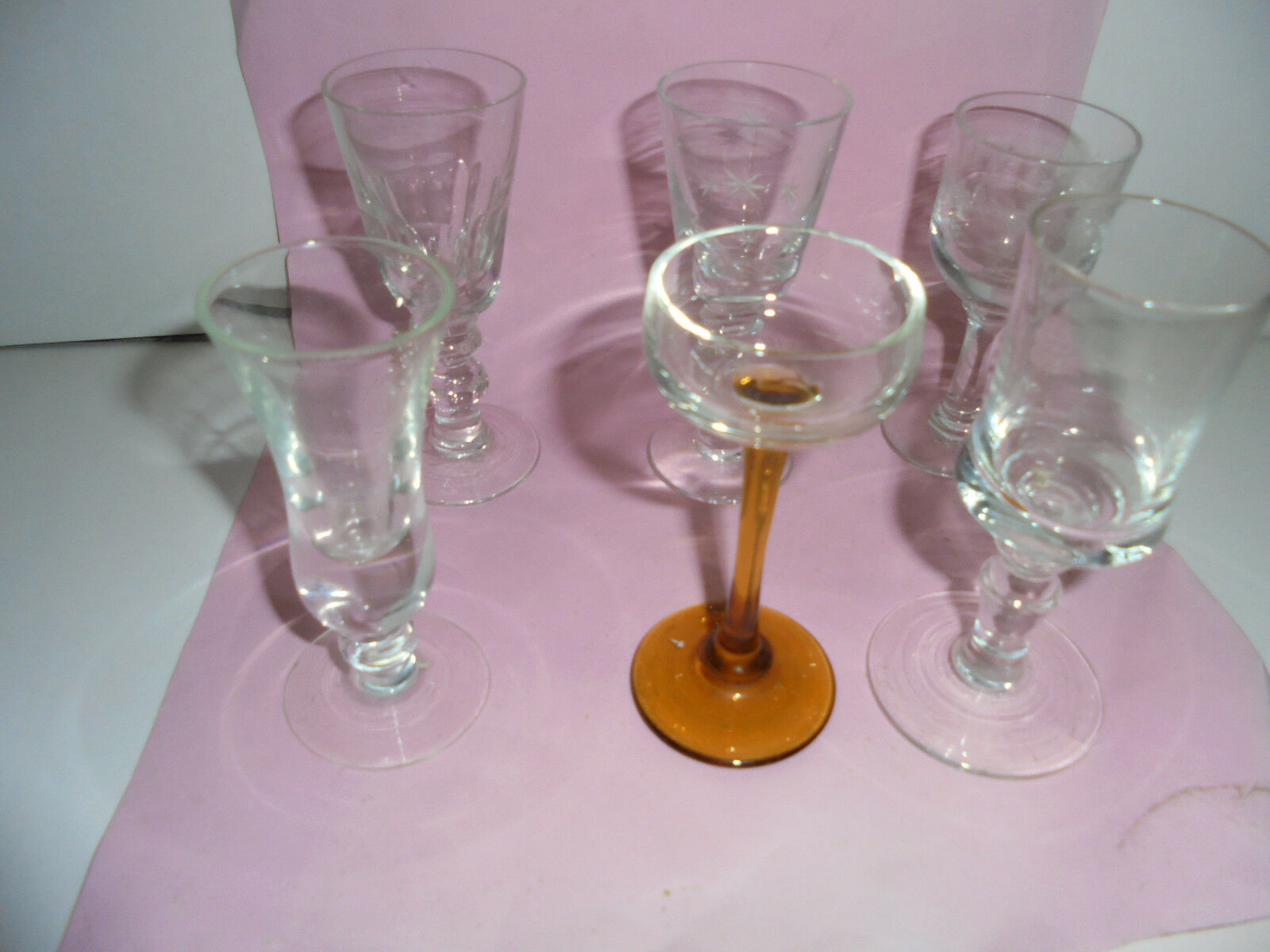 29052 6 Schnapsglas Art Deco Jugendstil mundgeblasen  shotglass 10 cm vintage | Roman