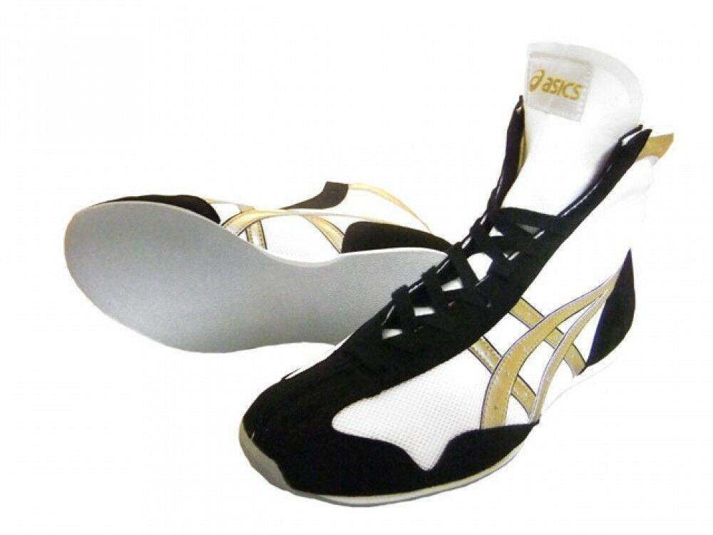 Asics Boxing shoes Short type Original color White x gold