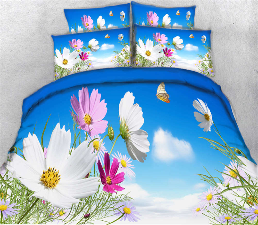 Mainstream Flower 3D Printing Duvet Quilt Doona Covers Pillow Case Bedding Sets