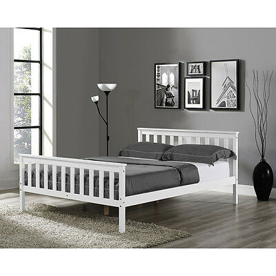 Solid Pine White Single Double King Size Bed Frame with Mattress Option Wooden