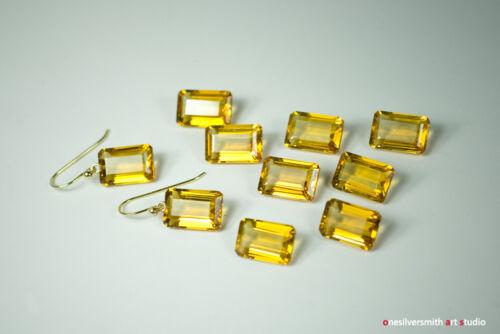18k 14k Gold GOLDEN Citrine Emerald-Cut Quartz Boucles d/'oreilles crochet ou Leverback 8-03