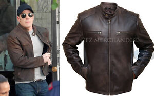 fa7506110 Details about Captain America Civil War Steve Rogers Brown Distressed  Cowhide Leather Jacket