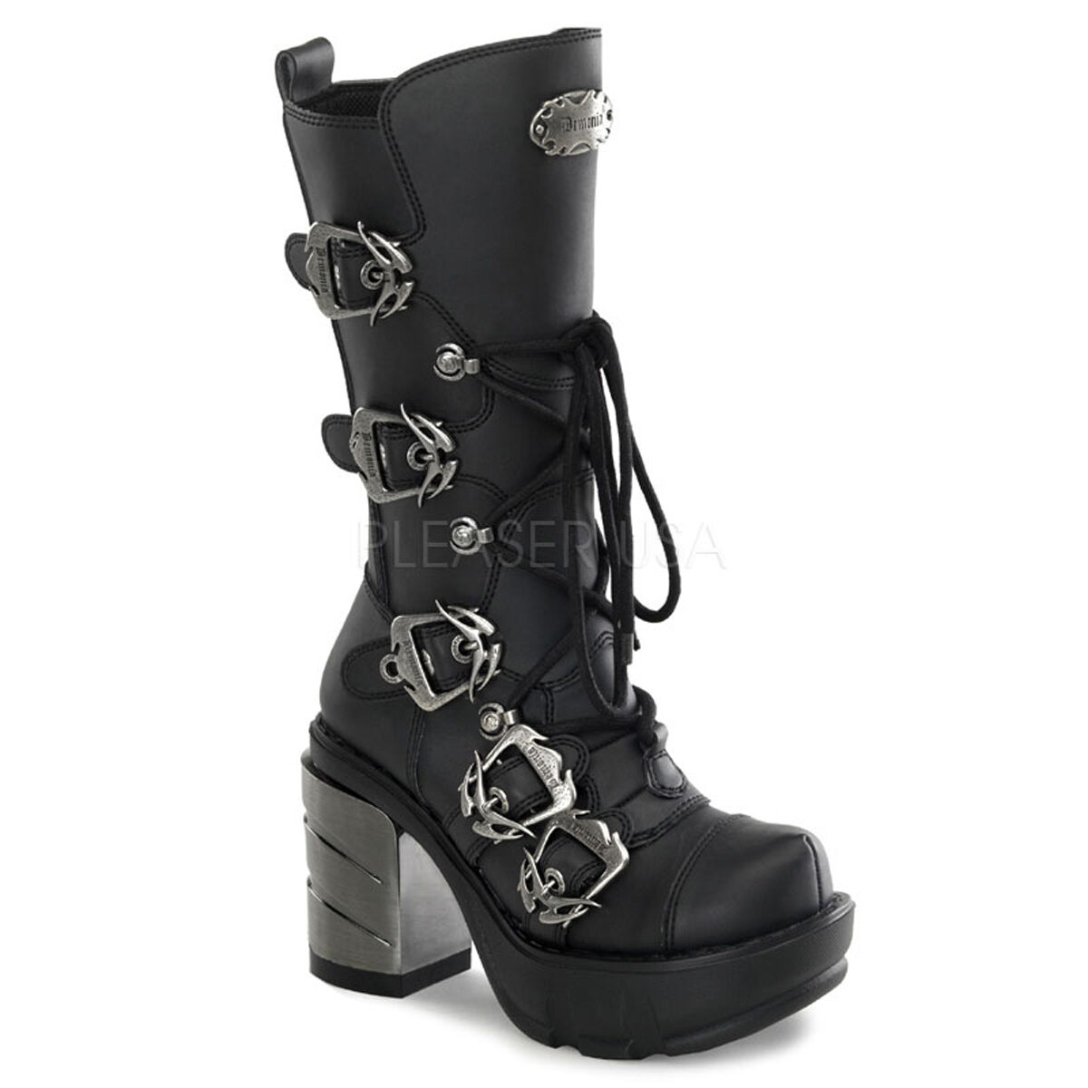 DEMONIA SINISTER-203 3 1 2  Chrome High Heel Cyber Punk Goth Boots w  Buckles