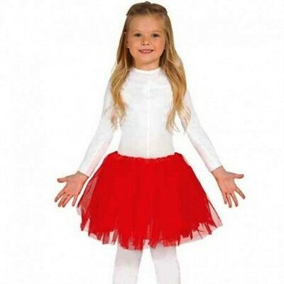 Carnevale Halloween Gonna Gonnellino Tutu Rosso Red Tulle Bambina 31 Cm