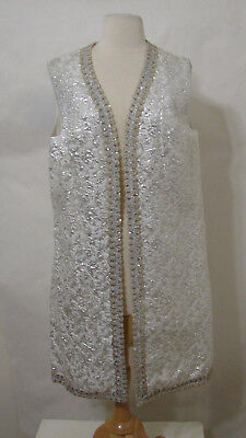 Vintage Silver Shimmer Sequin Sleeveless Lined Open Front Evening Jacket L