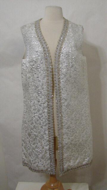 Vintage Silver Shimmer Sequin Sleeveless Lined Open Front Evening Jacket L