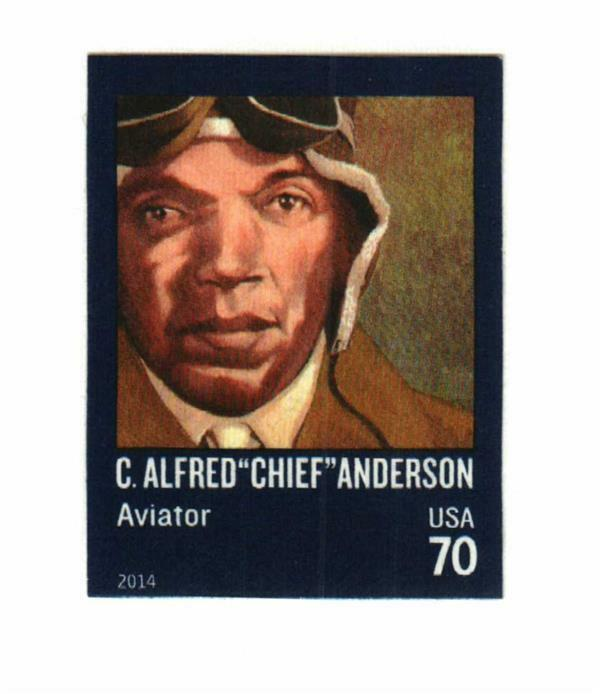 """2014 70c C. Alfred """"Chief"""" Anderson, Aviator, Imperfora"""