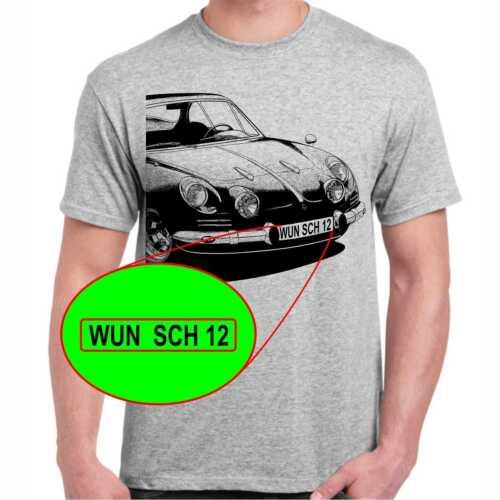 Alpine A110 Berlinetta T-Shirt mit oder ohne Wunschtext Kennzeichen