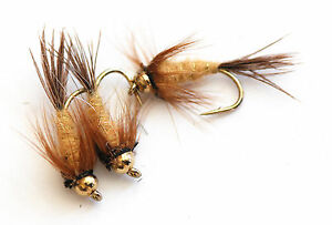 12-March-Brown-GBH-or-Standard-Nymphs-Top-Quality-Trout-Flies-Assorted-Sizes