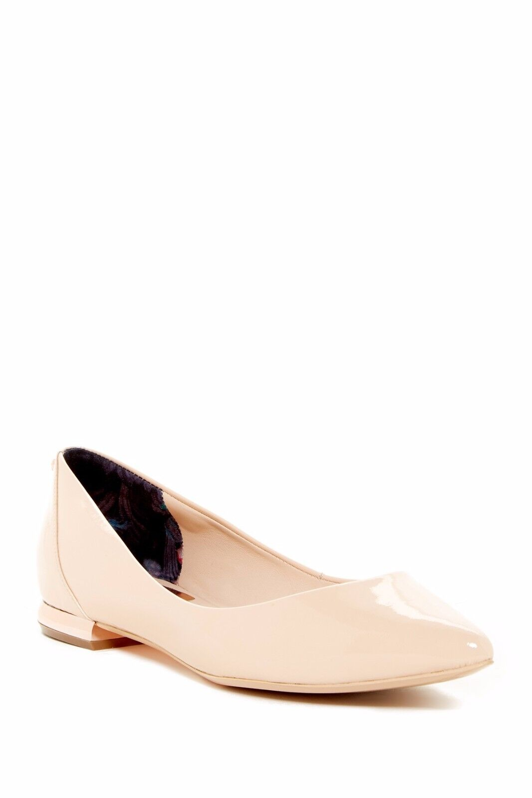 Ted Baker IZLAR Patent Bow Leather Flats Shoe Metal Heel Bow Patent NIB 41/10 (9.5) NUDE 650406