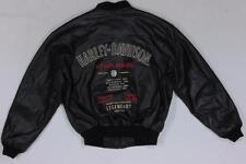 Harley Davidson Black Bomber Varsity V Twin Embroidered Leather Jacket S