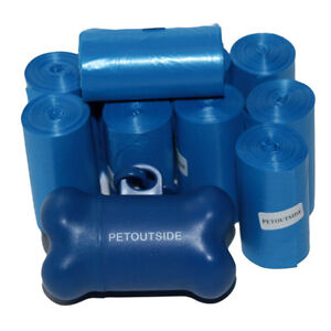 1035-DOG-WASTE-POOP-BAGS-45-REFILL-NO-CORE-BIODEGRADABLE-ROLLS-Dispenser-BLUE
