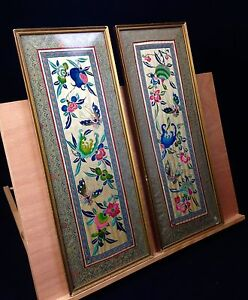 Vintage-Chinese-Silk-Embroidery-Pair-Butterfly-Floral-Bright-Colours