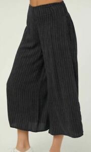 O-039-Neill-MOSS-Womens-Viscose-Polyester-Wide-Leg-Cropped-Pants-Small-Navy-NEW