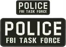 Fugitive Task Force AGENT embroidery patches 4x10 and 2x5 hook all black tan