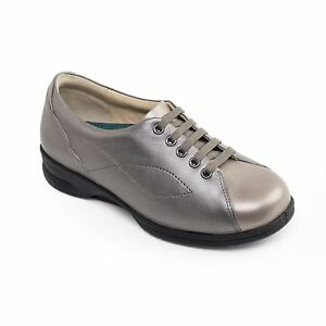 Padders-KIRA-Ladies-Leather-Super-Wide-Plus-Lace-Up-Trainer-Shoes-Metallic-Combi
