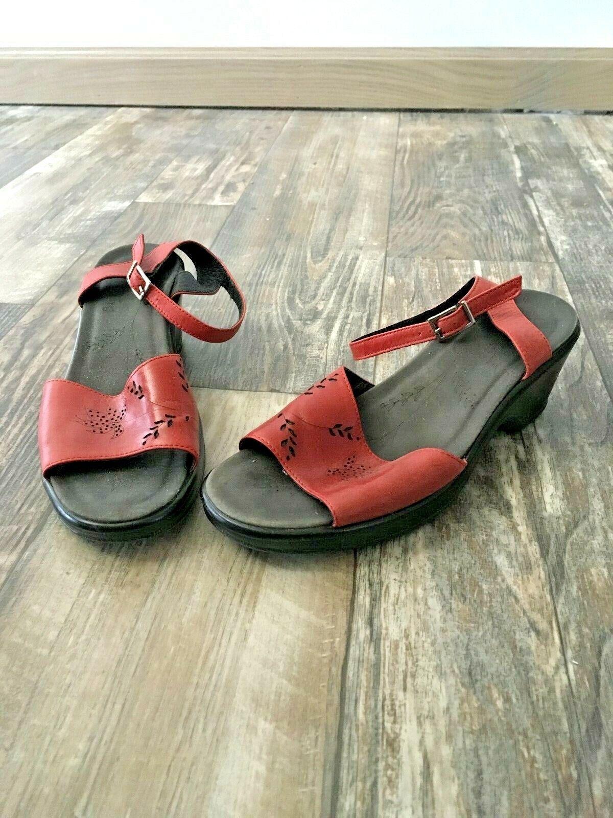 Dansko Red Leather Sandal - 38 - image 2