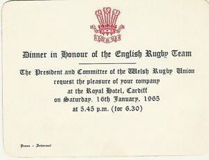 Details About Wales V England 16 Jan 1965 Rugby Dinner Invitation Card Triple Crown Wales