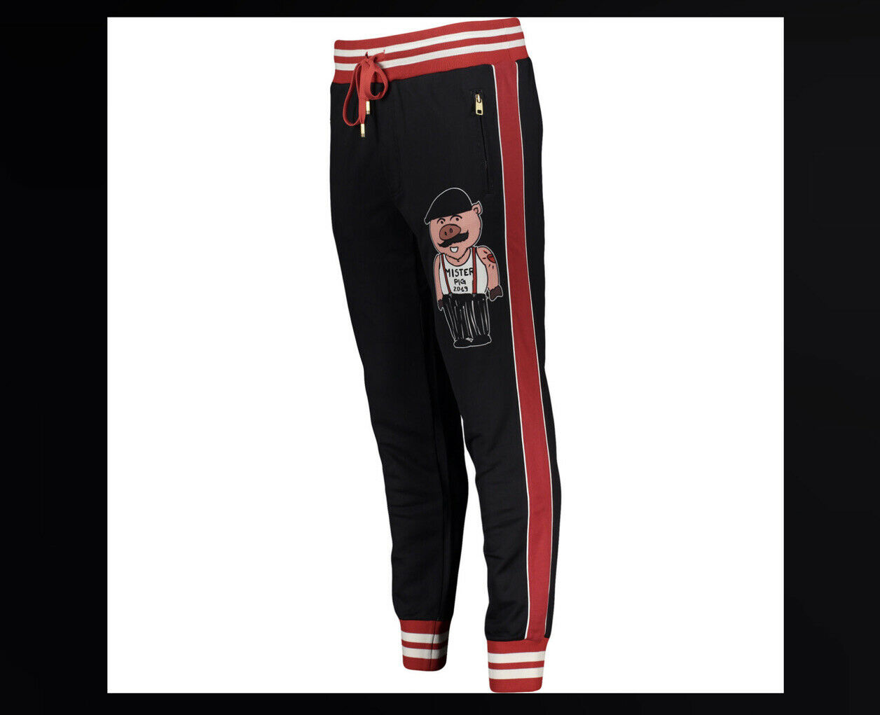 DOLCE & GABBANA Black MISTER PIG PRINTED Joggers Pants Size S NEW + TAG