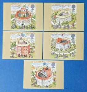 Set-of-5-PHQ-Stamp-Postcards-Set-No-172-Shakespeare-039-s-Globe-Theatre-1995-FW1