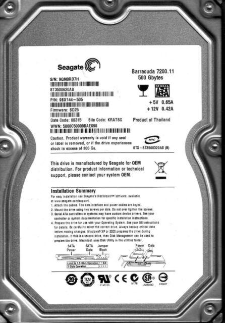 Seagate Barracuda 7200.11 500GB Internal 7200 RPM ST3500620AS sata