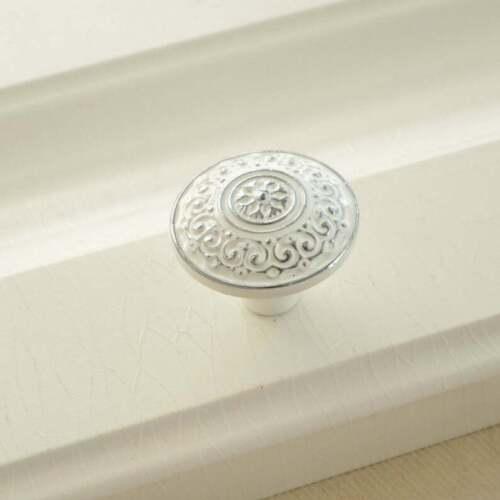Dresser Handles White/&Silver Pulls Knobs Black Cabinet Knob  Cupboard Handle