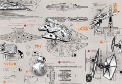 Fototapete Star Wars BLUEPRINTS 368x254 Millennium Falcon Speeder X-Wing Sci-Fi