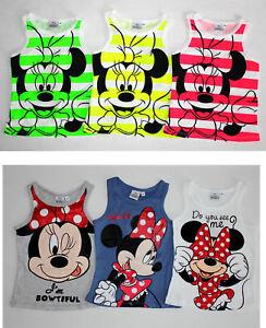Minnie-Mouse-Kinder-Maedchen-Traegertop-Shirt-Gr-98-128-T-Shirt-Top-Tanktop-Neu