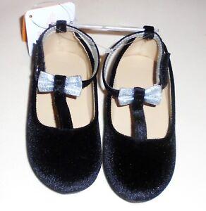 Gymboree-Girls-Black-Velvet-Silver-Bow-Shoes-5-6-8-9-10-NWT