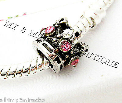 Crown Bead Princess Pink Crystal Antique Silver Queen Bling Pageant Fairy Gift