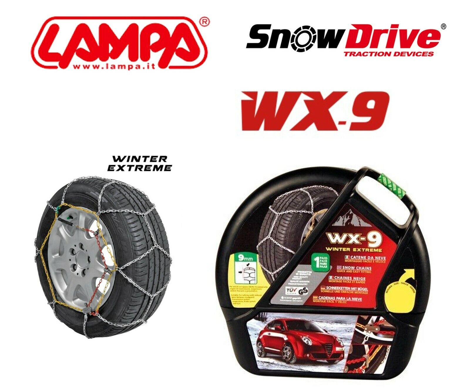 Catene neve a rombo 9mm Omologate ONORM V 5117 BMW Serie 3 E46 Gomma 205//55R16