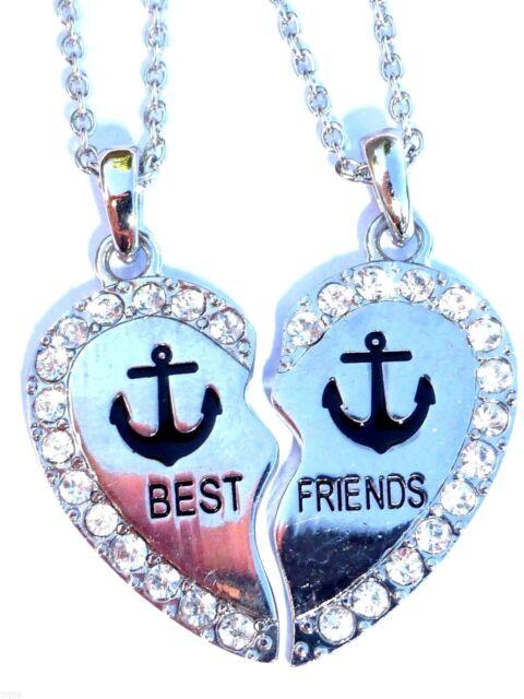 Anchor Rhinestone Heart Best Friend 2 Pendants Necklace ...