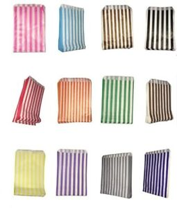 100-Pick-039-n-039-Mix-Color-amp-White-Candy-Stripe-Paper-Sweet-Bags-Wedding-5-034-X-7-034