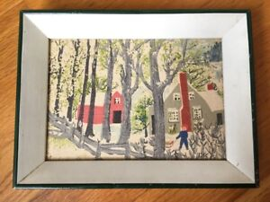 Vintage-1950-039-s-GRANDMA-MOSES-Framed-Reproduction-The-RED-BARN-Farmhouse-Decor