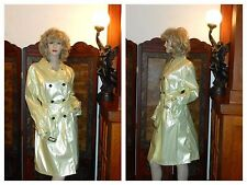 NWT M Shiny Pearl Yellow PVC Vinyl Raincoat Trench Coat Rain Slicker NEW