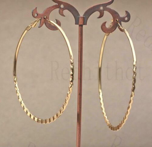 """18K Gold Filled 2.8/"""" Earring Oversize Circle Lace Hollow Hoop Bohemia Jewelry HB"""
