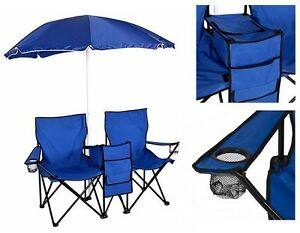 Image Is Loading Beach Umbrella With Double Chairs Set Folding Camping